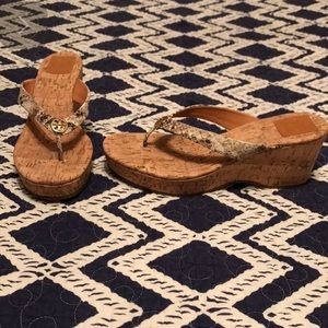 NEW Tory Burch Wedges  sz 11- 75mm python and cork